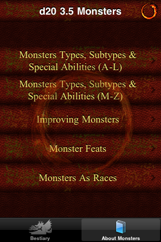 Screenshot d20 3.5 Monsters